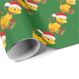 Baby's First Christmas Giraffe wrapping paper