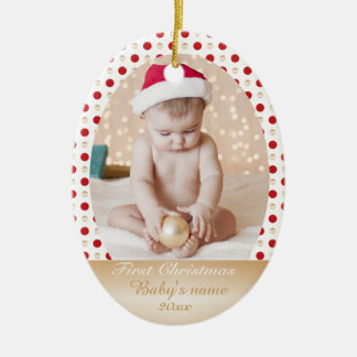 Baby's first Christmas gold and red dots Christmas Ornament