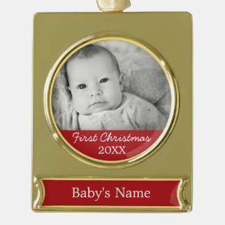 Baby's First Christmas Gold Plated Banner Ornament