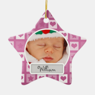 Baby's First Christmas Hearts & Stars Pink Christmas Ornament