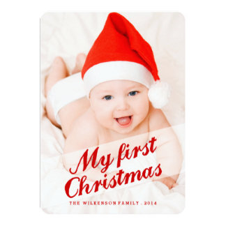 Baby's First Christmas Holiday Photo Card 13 Cm X 18 Cm Invitation Card