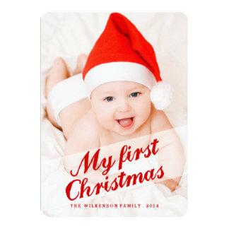 Baby's First Christmas Holiday Photo Card 13 Cm X 18 Cm Invitation Card