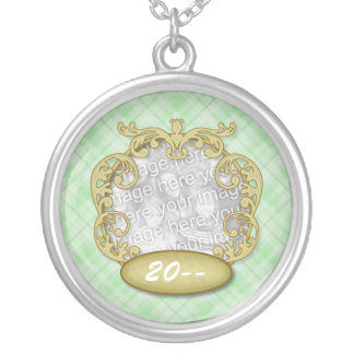 Baby's First Christmas Light Green Plaid Silver Plated Necklace