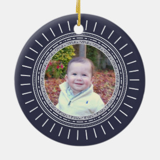 Baby's First Christmas | Modern Navy & White Photo Christmas Ornament