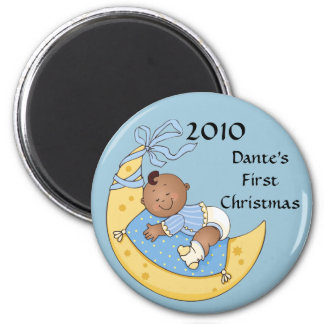 Baby's First Christmas Moon Boy Blue Customizable 6 Cm Round Magnet