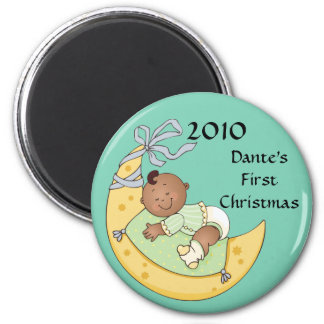 Baby's First Christmas Moon Boy Green Customizable 6 Cm Round Magnet