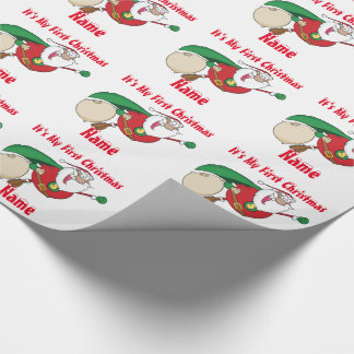 Babys First Christmas named Giftwrap SuperSanta Wrapping Paper