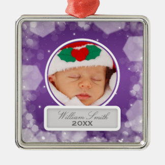Baby's First Christmas Night Sparkle Purple Christmas Ornament