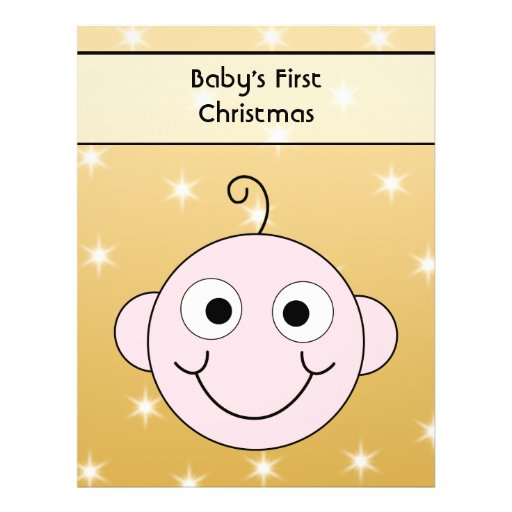 Baby's First Christmas. On Gold Color background. Flyer Design
