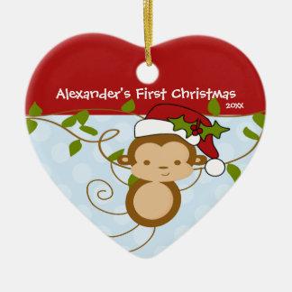 Baby's First Christmas Ornament Boy Santa Monkey