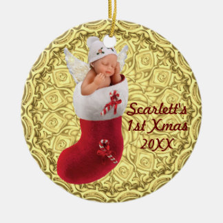 babys first christmas ornament - customizable gold