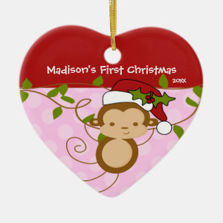 Baby's First Christmas Ornament Girl Santa Monkey
