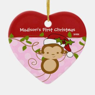 Baby's First Christmas Ornament Girl Santa Monkey