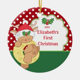 Babys First Christmas Ornament Reindeer Deer