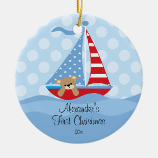 Baby's First Christmas Ornament Sailboat Baby Boy