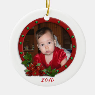Babys First Christmas ornament traditional flowers