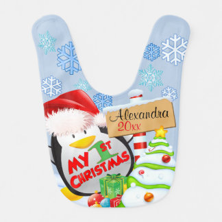 Baby's First Christmas Penguin Baby Bibs