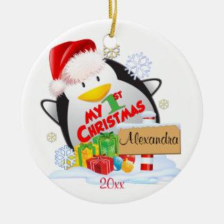 Baby's First Christmas Penguin Custom Round Ceramic Decoration