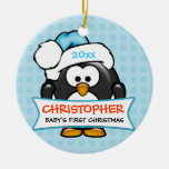 Baby's First Christmas Penguin Ornament Round Ceramic Decoration