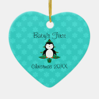 Baby's first christmas penguin turquois snowflakes christmas ornament