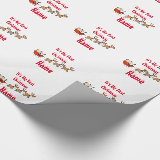 Babys First Christmas Personalised giftwrap Wrapping Paper