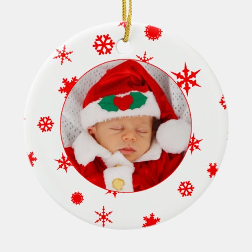 Baby 39 s first christmas personalised photo ornament zazzle for Babys first christmas decoration