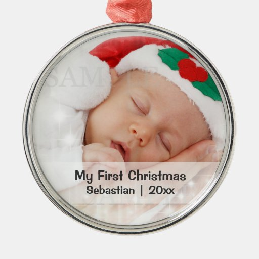 Baby 39 s first christmas personalised photo template silver for Babys first christmas decoration