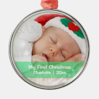 Baby's First Christmas Personalized Photo Template Christmas Ornament