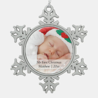 Babys First Christmas Personalized Photo Template Pewter Snowflake Decoration