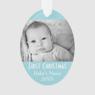 Baby's First Christmas Photo - Blue Boy Background Ornament