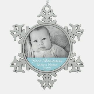 Baby's First Christmas Photo - Blue Boy Background Ornaments