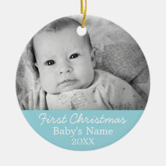 Baby's First Christmas Photo - Blue Boy Background Round Ceramic Decoration