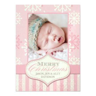 "Baby's First Christmas Photo Cards 6.5"" X 8.75"" Invitation Card"