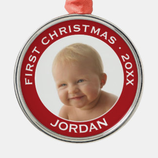 Baby's First Christmas Photo Custom Name and Year Christmas Ornament