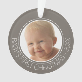 Baby's First Christmas Photo Custom Name and Year Ornament