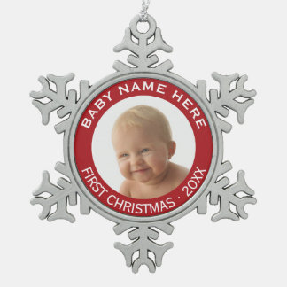 Baby's First Christmas Photo Custom Name and Year Pewter Snowflake Decoration