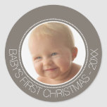 Baby's First Christmas Photo Custom Name and Year Round Sticker