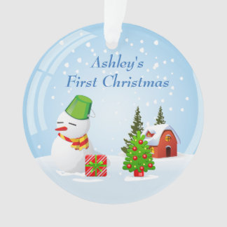 Baby's First Christmas Photo Cute Snowball Snowman