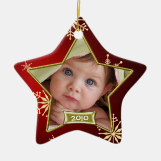Baby's First Christmas Photo Frame Ceramic Star Decoration
