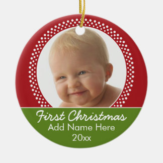 Baby's First Christmas Photo Frame - Red and Green Christmas Ornament