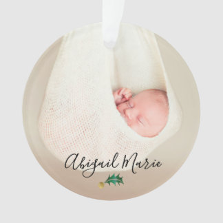 Baby's First Christmas Photo Green & Gold Holly Ornament