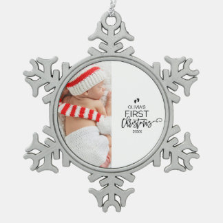 Baby's First Christmas Photo Holiday Snowflake Pewter Christmas Ornament