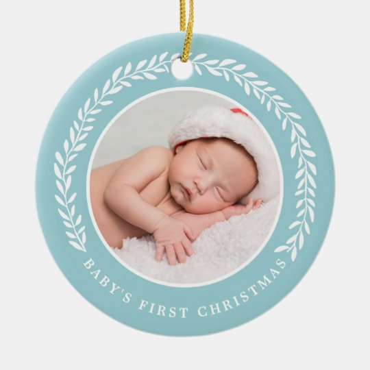Baby's First Christmas Photo Ornament | Blue