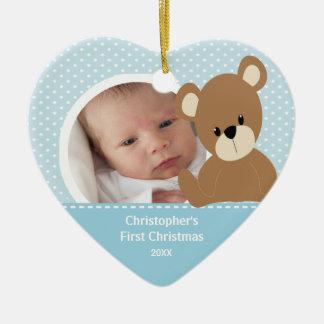 Babys First Christmas Photo Ornament Boy Bear