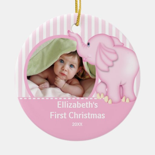 Babys first christmas photo ornament elephant zazzle for Babys first christmas decoration