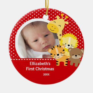 Babys First Christmas Photo Ornament Jungle Animal