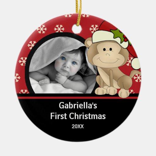 Babys First Christmas Photo Ornament Monkey