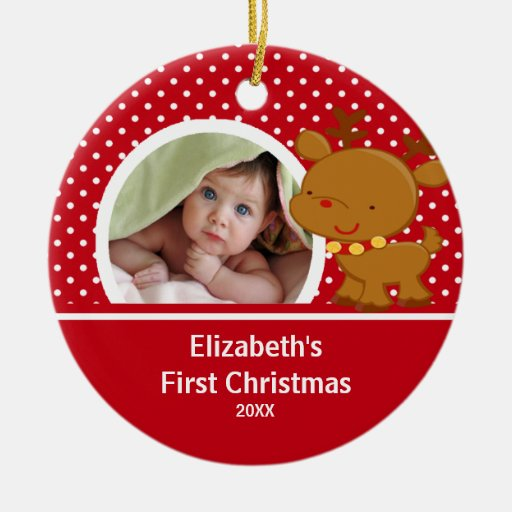 Baby 39 s first christmas photo ornament reindeer zazzle for Baby s first christmas decoration