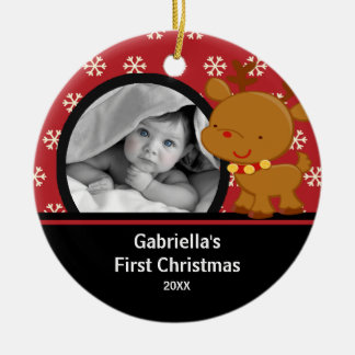 Babys First Christmas Photo Ornament Reindeer