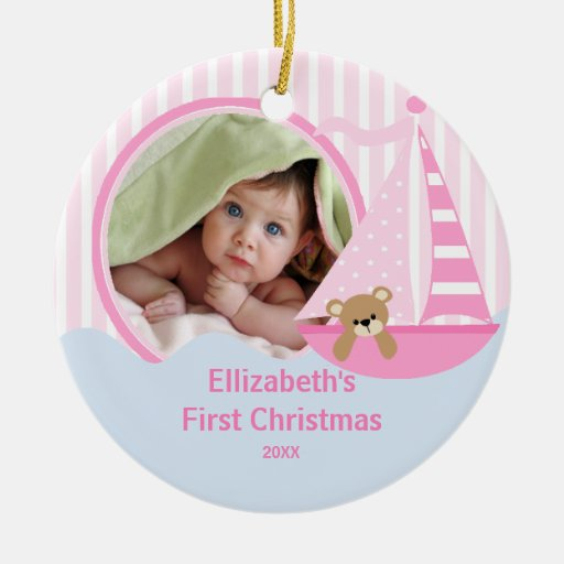 Babys first christmas photo ornament sailboat zazzle for Babys first christmas decoration